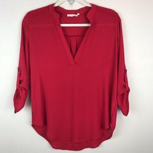 Lush red high low hem v neck popover tunic top
